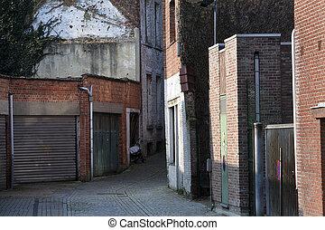 petit, portes garage, ruelle