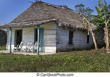 petit, résidentiel, maison, sur, cuba, à, fauteuils bascule