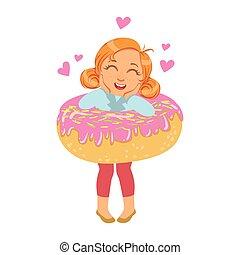 petit rire fille, et, debout, intérieur, a, grand, rose, beignet, a, coloré, caractère