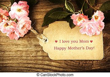 petit, roses, jour, carte, mères