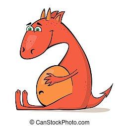 petit, rouges, dragon