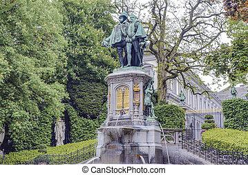 Petit Sablon Square in Brussels, Belgium - Statue of Egmont ...