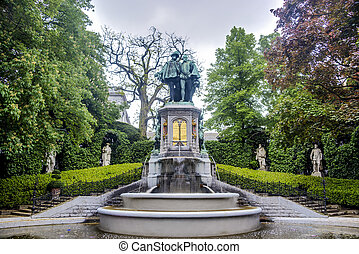 Petit Sablon Square in Brussels, Belgium - Statue of Egmont...