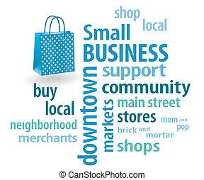 petit, sac, achats, business