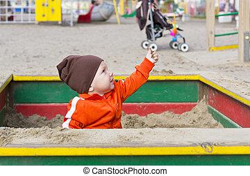 petit, sandbox, jouer, enfant
