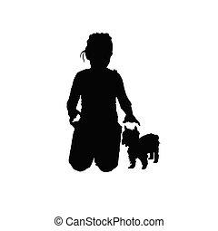petit, silhouette, chien, enfant