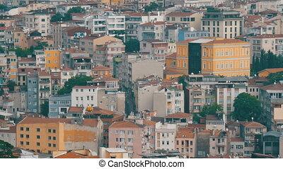 petit, sommet, satellite, climatiseurs, rouges, grand, istanbul, fait, tuiles, air, plats, galata, toits, tower., beaucoup, vue