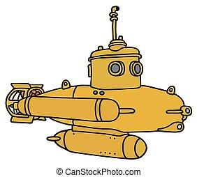petit, sous-marin, jaune