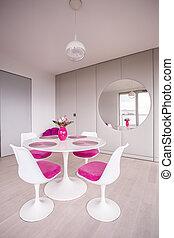 petit, table, blanc, chaises