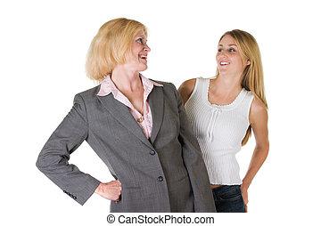 petit, très, affaires femme, équipe, 2