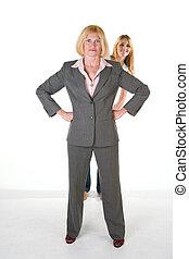 petit, très, affaires femme, équipe