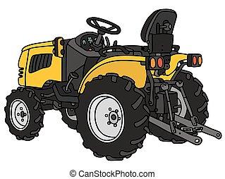 petit, tracteur jaune