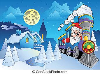 petit, train, santa, village