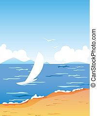 petit, tropique, plage blanche, flotter, bateau