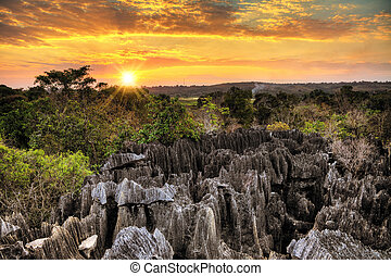 petit, tsingy, sonnenuntergang, landschaftsbild