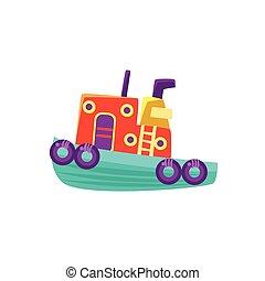 petit, vapeur, bateau jouet