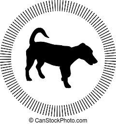 petit, vecteur, silhouette, chien