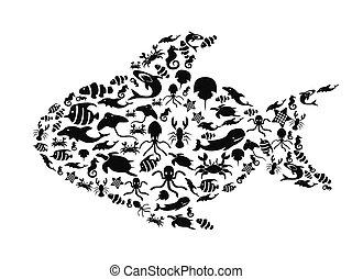 petit, vie, fish, mer, rempli