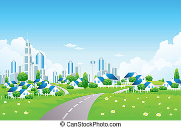 petit, ville, paysage vert, villarge