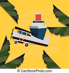 petit, voyage, avion, croisière bateau