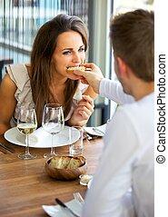 petite amie, alimentation, pain, sien, homme