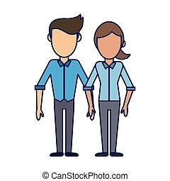 petite amie, couple, dessin animé, petit ami