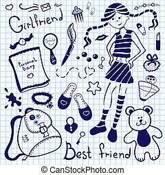 petite amie, feuille, stylo, cahier, dessin