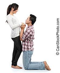 petite amie, proposer, homme