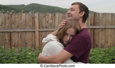 petite amie, sien, homme, consoler