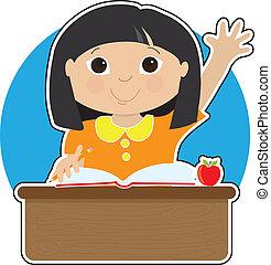 petite fille, à, école, asiatique