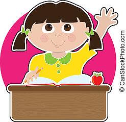 petite fille, à, école