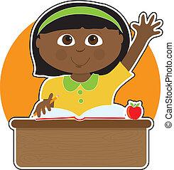 petite fille, à, école, noir