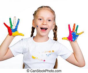 petite fille, à, 0b, 0bhands, dans, peinture