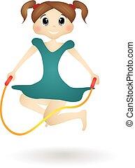 petite fille, à, a, corde à sauter