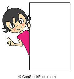 petite fille, à, a, signe blanc