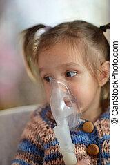 petite fille, à, inhalateur
