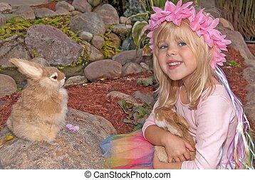 petite fille, à, lapins