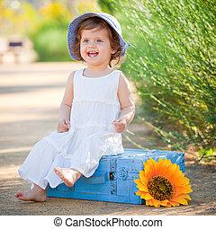 petite fille, été, mignon, sunhat., rire