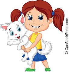 petite fille, étreindre, heureux, dessin animé, h