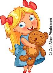 petite fille, étreindre, les, teddy, bear., rigolote, dessin animé, caractère
