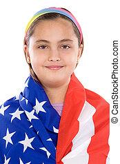 petite fille, américain, patriotique, drapeau