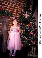 petite fille, arbre, complet, noël