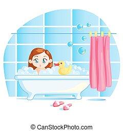 petite fille, bébé, prendre, bain, rigolote