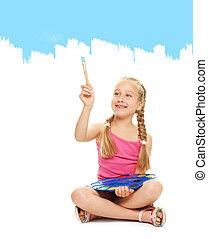petite fille, bleu, peinture, peinture, beau