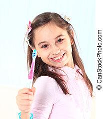 petite fille, brossage, elle, dents