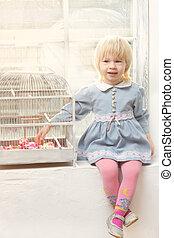 petite fille, cellule, séance, fenêtre, robe