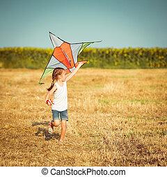 petite fille, cerf volant