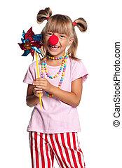 petite fille, clown, nez