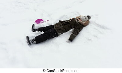 petite fille, confection, hiver, angel., neige, activités, gosses, concept