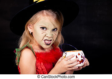 petite fille, déguisement, portrait